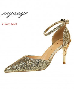 Eeyaayo Golden Sequined Cloth Ankle Strap Pumps Shoes