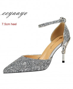 Eeyaayo Silver Sequined Cloth Ankle Strap Pumps Shoes