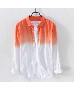 Klv Orange Broadcloth Linen Shirt