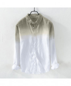 Klv Gray Broadcloth Linen Shirt