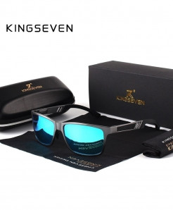 KINGSEVEN Blue Polarized Aluminum Magnesium Rectangle Shades Sunglasses