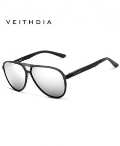 Veithdia Black Silver Aluminum Polarized Sunglasses