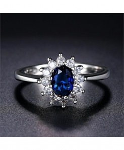 StoneAge Royal Blue Cubic Zirconia Oval Rings