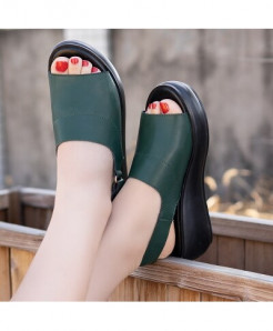 Gktinoo Green Genuine Leather Back Strap Solid Sandals