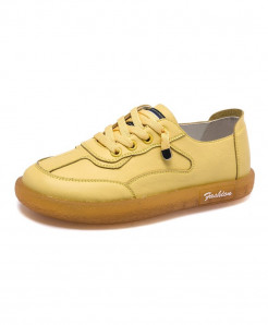 Mbr Force Yellow Genuine Leather Lace-Up Casual Shoes
