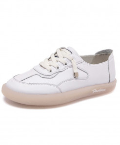 Mbr Force White Genuine Leather Lace-Up Casual Shoes