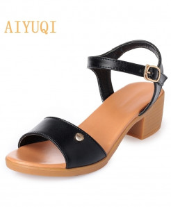 Aiyuqi Black Microfiber Ankle-Wrap Sandals