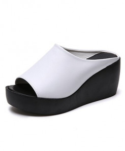 Olome White Slip-On Rubber Pu Sandals