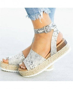 Olome Snake Synthetic Ankle-Wrap Sandals