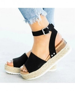 Olome Black Synthetic Ankle-Wrap Sandals