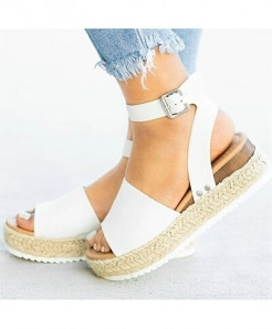 Olome White Synthetic Ankle-Wrap Sandals