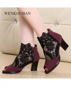 Wenkouban Red Pu Heels Sandals