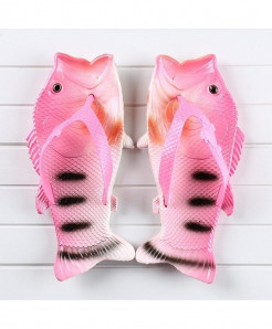 Besed Pink Black Lining Pvc Fish Slippers AT-608