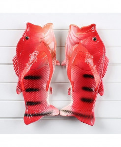 Besed Red Black Lining Pvc Fish Slippers AT-607