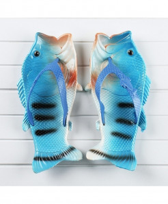 Besed Blue Black Lining Pvc Fish Slippers AT-605