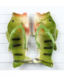 Besed Green Black Lining Pvc Fish Slippers AT-604