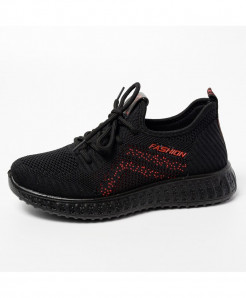 Black Red Solid Eva Mesh Casual Shoes