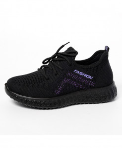 Black Purple Solid Eva Mesh Casual Shoes
