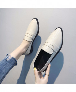 Negroke White Slip-On Square heel Shoes