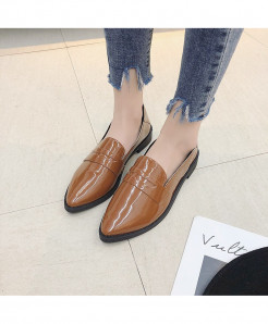 Negroke Brown Slip-On Square heel Shoes