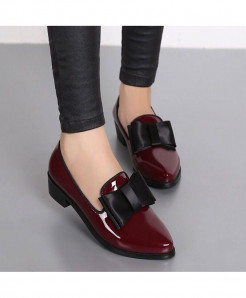 Negroke Red Slip-On Square heel Shoes