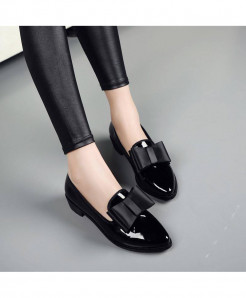 Negroke Black Slip-On Square heel Shoes