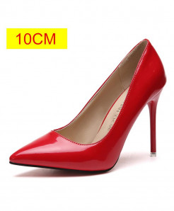 Red Slip-On Pointed Toe Pumps