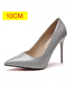 Gray Slip-On Pointed Toe Pumps
