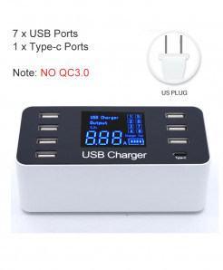 Goojodoq Type C Smart LED Display USB Charging Adapter AT-707