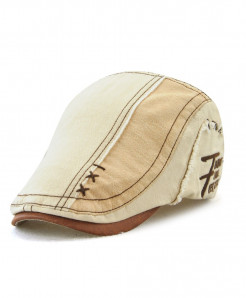Tohuiyan Beige Cotton Patchwork Cap