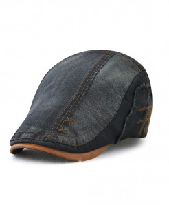 Tohuiyan Black Cotton Patchwork Cap