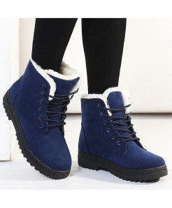 Jiasha Blue Flock Lace-Up Fur Boots