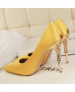YuanXiangZhu Yellow Silk Slip-On Pumps