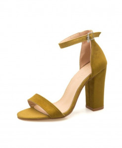 Acgicea Yellow Rubber Flock Buckle Strap Sandals