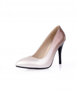 Lilyptuart Light Gray Patent Leather Pumps