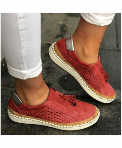 Classic Zapatillas Red Slip-On Casual Shoes AT-6020