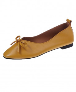 Yellow Split Leather Lace-Up Eva Shoes