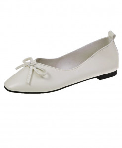White Split Leather Lace-Up Eva Shoes