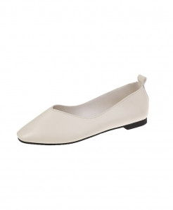 White Split Leather Eva Shoes