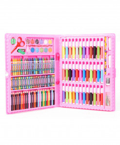 Pink 150Pcs Colored Pencil Artist Kit Painting Crayon Marker Pen Brush