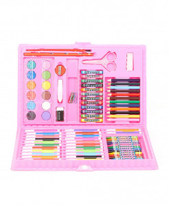 Pink 86Pcs Colored Pencil Artist Kit Painting Crayon Marker Pen Brush
