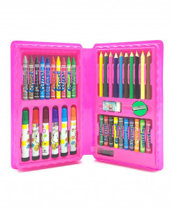 Pink 42Pcs Colored Pencil Artist Kit Painting Crayon Marker Pen Brush