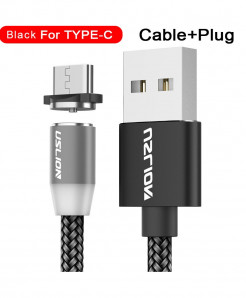 Uslion Black Magnetic Type C Usb Fast Charging Data Cable