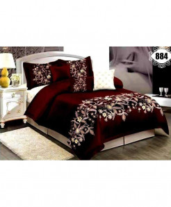 3D Red Floral Stylish Cotton Bedsheet SN-884