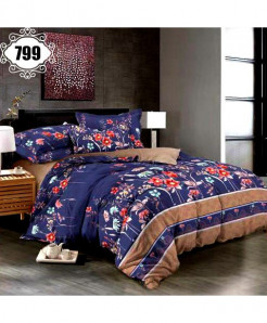 3D Blue Floral Stylish Cotton Bedsheet SN-799