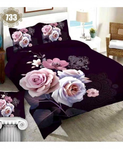 3D Black Pink Floral Stylish Cotton Bedsheet SN-733