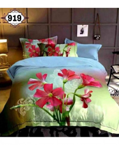 3D Aqua Red Floral Stylish Cotton Bedsheet SN-919