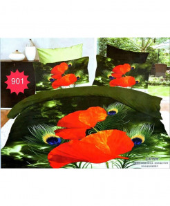 3D Green Red Floral Stylish Cotton Bedsheet SN-901