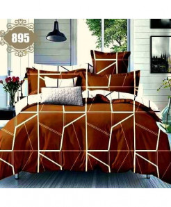 3D Dark Brown Satin Stylish Cotton Bedsheet SN-895