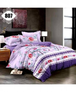 3D Purple Floral Stylish Cotton Bedsheet SN-807